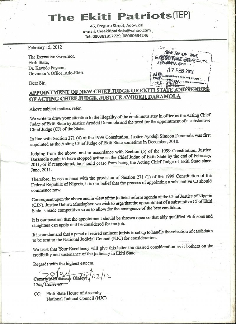 Group counsels fayemi over appointment of new cj tenure of acting cj altavistaventures Images