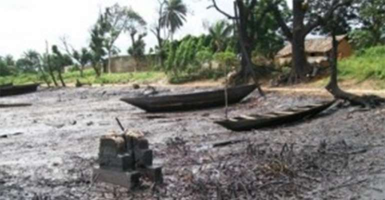 Effect of oil spill on a supposed water body