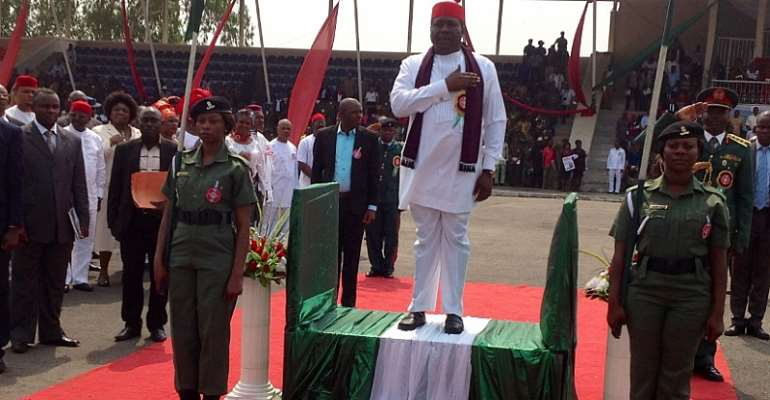 Imo Deputy Governor, Prince Eze Madumere, MFR, Taking Salute During The Grand Finale Of The Armed Forces And Remembrance Day/ Wreath-Laying Ceremony At Heroes Square, Owerri, Imo State