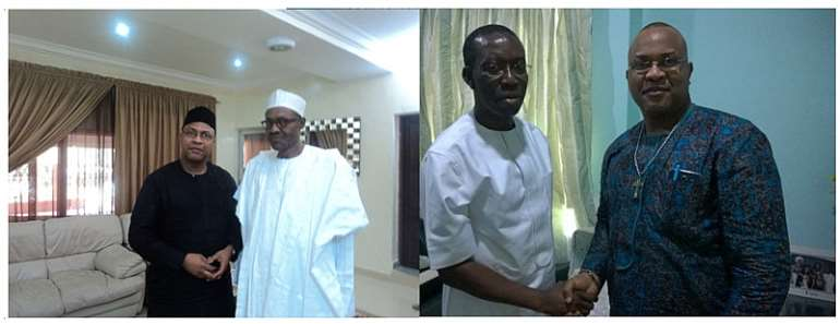 Rev. Alex Atawa Akpodiete with both the President Buhari and Governor Okowa at different Fora.