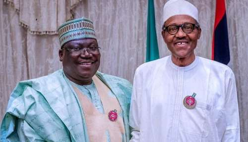 Image result for pictures of buhari and ahmed lawan together