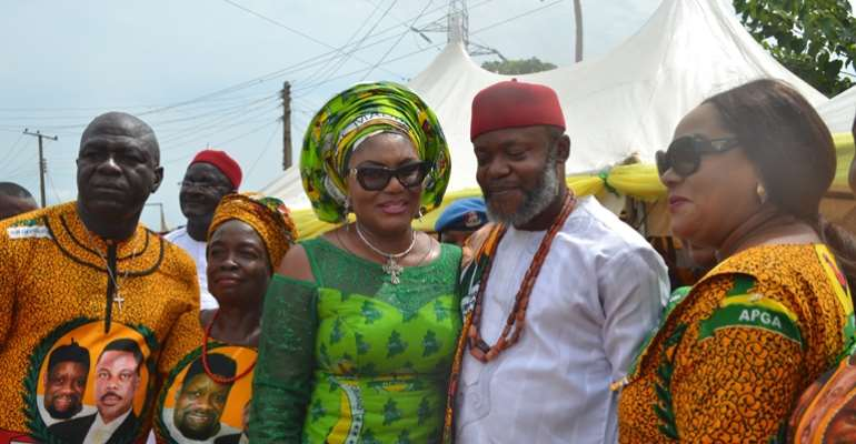 Wife of Governor of Anambra State, Chief (Mrs.) Ebelechukwu Obiano  and former Governorship Aspirant and chieftain of All Progressives Congress (APC), Comrade Harris Chuma, Member Representing Oyi State Constituency, Hon Vivian Okadigbo and APGA members d