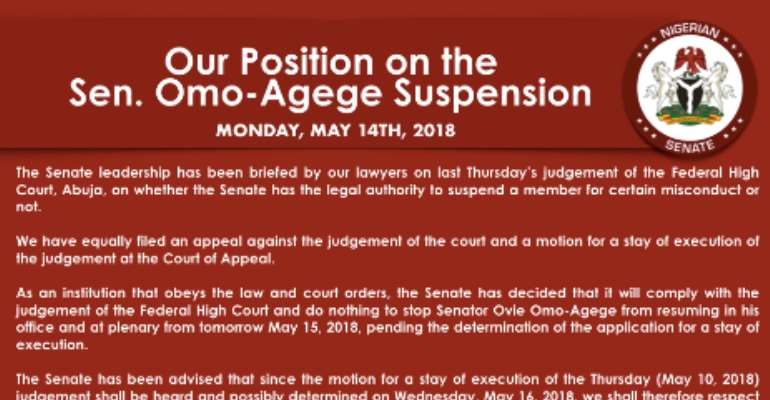 Omo-Agege Will Be Allowed to Resume - Senate