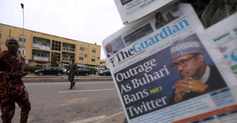 Newspapers are seen at a newsstand in Abuja, Nigeria, on June 5, 2021. Nigeria's broadcast regulator recently ordered all broadcasters to cease using Twitter. (Reuters/Afolabi Sotunde)