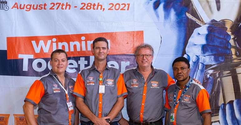 (L-R)  Chief Operations Officer, Pandagric Novum Limited, Arnold Smith, Chief Executive Officer,  Bruce Spain, Member, Executive Board, Theo van der Veen  and the General Manager, Sales and Marketing, Tunji Osoko during the 2021 Pandagric Novum Limited D