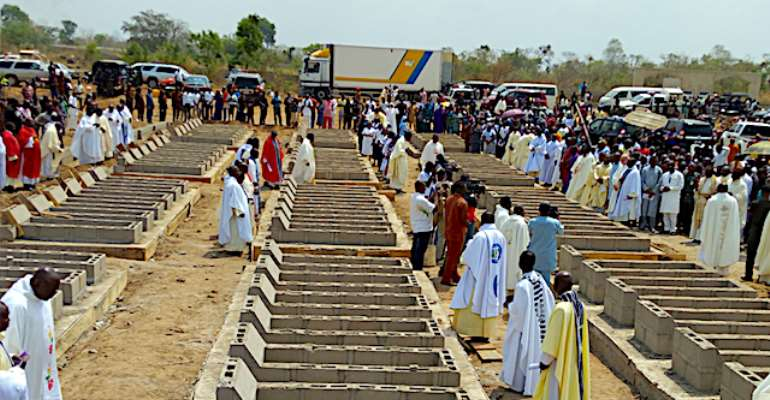 One Month memorial Mass for de 73 Victims of January 1st 2018 Herdsmen Massacre in Benue State Organised by de Catholic Dioceses in Benue.  Dioceses of Makudi ,Otukpo,Gboko and Katsina-Ala