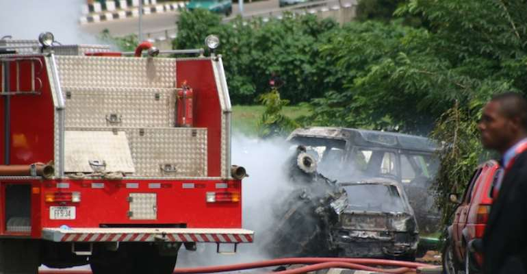 PHOTO: A FIRE TRUCK AT THE SCENE OF THE INDEPENDENCE DAY BOMB BLASTS IN ABUJA.
