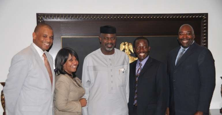 CROSS RIVER STATE GOVERNOR LIYEL IMOKE (M) FLANKED BY A TEAM OF AMERICAN INVESTORS, DR CHRYL HILL, LARIAN FINNEY (L), GUY DJOKEN AND JAMES COPPER (R) SHORTLY AFTER A BUSINESS EXPLORATORY SESSION IN CALABAR.