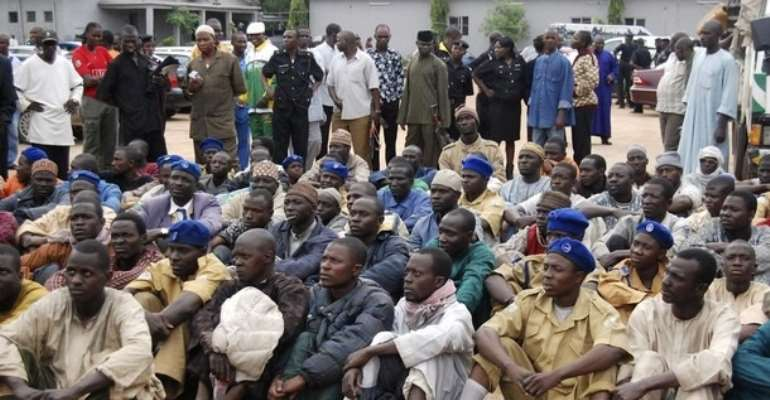 SOME DETAINED MEMBERS OF THE RADICAL ISLAMIC SECT BOKO HARAM.