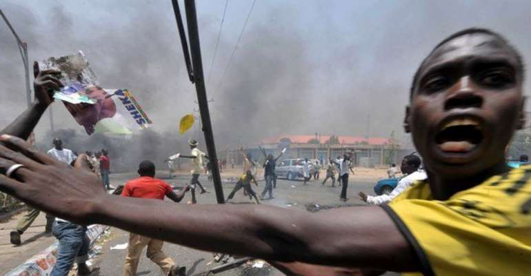 NORTHERN MISCREANTS ON RAMPAGE IN KANO TODAY IN PROTEST AGAINST NIGERIA'S PRESIDENTIAL ELECTION RESULTS. SOURCE: HANDOUT BY ANONYMNOUS.