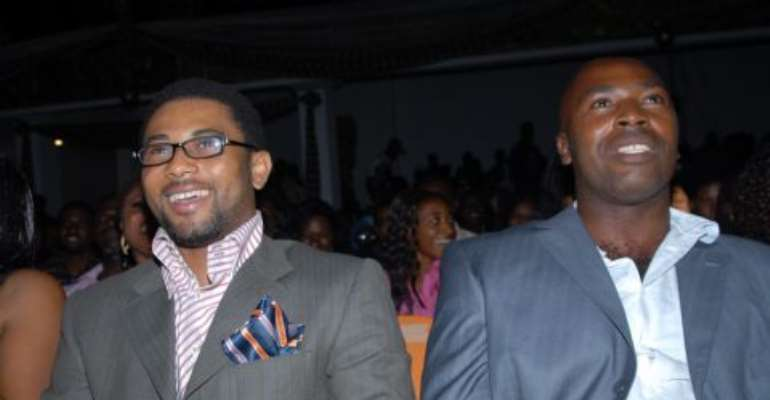 TUVI JAMES ON THE LEFT WITH A FRIEND AT AMMA AWARD