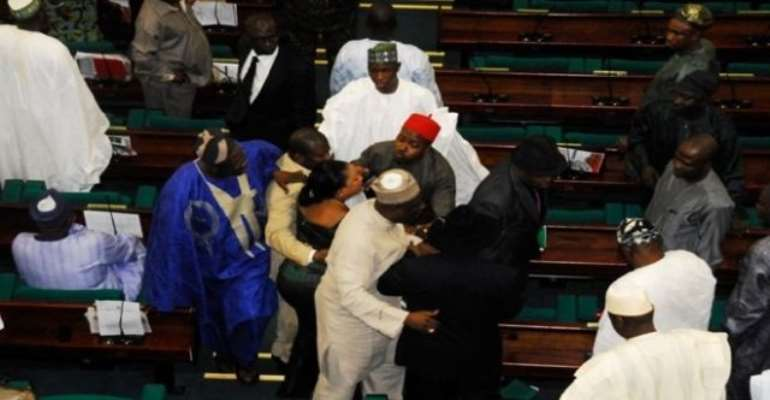 PHOTO: FEDERAL LAWMAKERS DURING THE BRAWL THAT LEFT SOME MEMBERS SUSPENDED.
