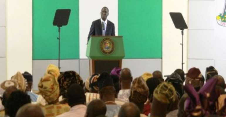 PHOTO: LAGOS STATE GOVERNOR, MR BABATUNDE RAJI FASHOLA DURING HIS LAST WORLD PRESS CONFERENCE ON DEMOCRACY DAY.