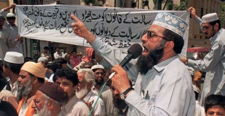 Strict: Scores of people have been arrested in Pakistan under the country's harsh blasphemy laws, which carry sentences of life in prison or the death penalty, though executions are rarely carried out
