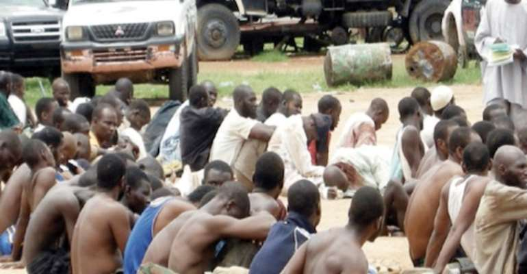 SUSPECTED MEMBERS OF THE BOKO HARAM SECT ARRESTED DURING A RAID OF THEIR HIDEOUT IN MAIDUGURI, BORNO STATE, BY SECURITY FORCES SOME MONTHS AGO.