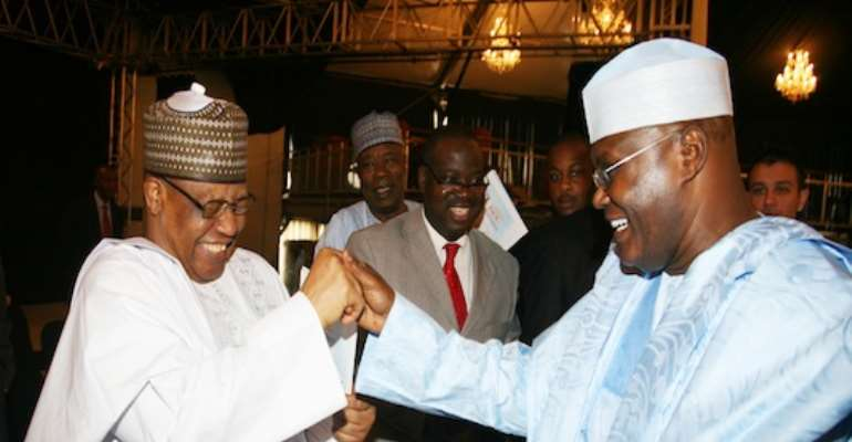 PHOTO: PDP PRESIDENTIAL ASPIRANTS; L-R: FORMER MILITARY DICTATOR, GENERAL IBRAHIM BABANGIDA AND FORMER VICE PRESIDENT, ALHAJI ATIKU ABUBAKAR AT A  DAILY INDEPENDENT NEWSPAPER FUNCTION IN ABUJA ON TUESDAY, SEPTEMBER 28, 2010.