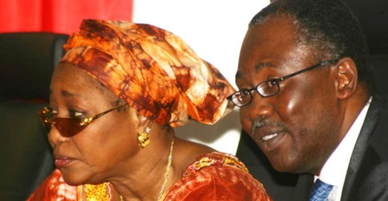 PHOTO: L-R: EFCC BOSS, MRS. FARIDA WAZIRI AND ATTORNEY GENERAL OF THE FEDERATION AND MINISTER OF JUSTICE, MR MOHAMMED BELLO ADOKE, SAN, AT THE GRAUDUATION CEREMONY OF EFCC'S CADET COURSE 5, IN ABUJA TODAY , AUGUST 19, 2010.