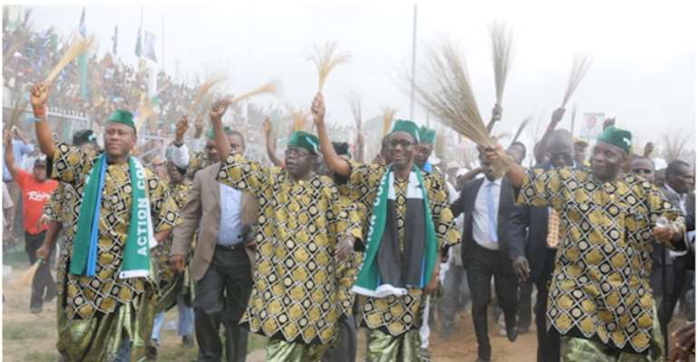 R-L: ACN GOVERNORSHIP CANDIDATE IN AKWA IBOM STATE JOHN JAMES AKPANUDOEDEHE, PRESIDENTIAL CANDIDATE NUHU RIBADU, PARTY LEADER BOLA TINUBU AND DR IME UMANA AT THE ACN PRESIDENTIAL CAMPAIGN RALLY IN UYO, AKWA IBOM STATE HELD TODAY, MARCH 09, 2010.