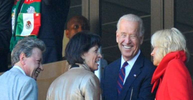 PHOTO: US VICE PRESIDENT JOE BIDEN (2ND R) WITH WIFE JILL TALK WITH SWISS PRESIDENT DORIS LEUTHARD (3RD R) AT THE OPENING OF THE 2010 WORLD CUP TOURNAMENT IN SOUTH AFRICA. Image: AFP/ ALEXANDER JOE.