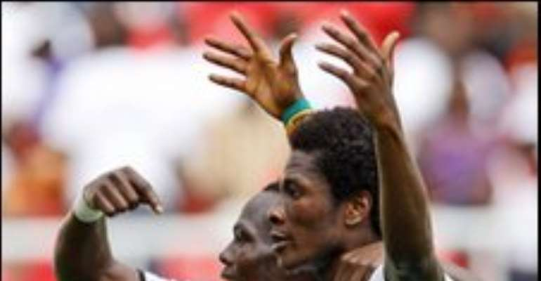 Asamoah Gyan's near-post header put Ghana in front after 21 minutes