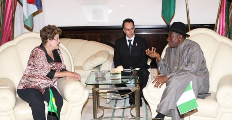 PRESIDENT GOODLUCK JONATHAN (R) WITH VISITING BRAZILIAN PRESIDENT, DILMA ROUSEFF AT THE PRESIDENTIAL VILLA IN ABUJA. FEBRUARY 23, 2013