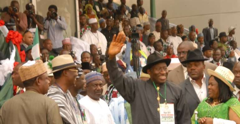 PRESIDENT GOODLUCK EBELE JONATHAN AND DAME PATIENCE JONATHAN (2ND & 1ST RIGHT) WITH AIDES AND MEMBERS OF THE RULING PDP AT THE PARTY'S PRESIDENTIAL CONVENTION IN ABUJA A FEW MONTHS AGO.