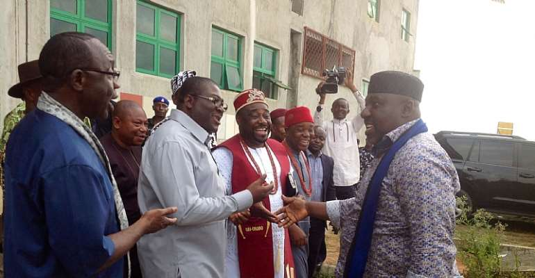 Governor Okorocha being received by Imo Deputy Governor during APC stakeholders meeting at Ahiajoku Centre recently.