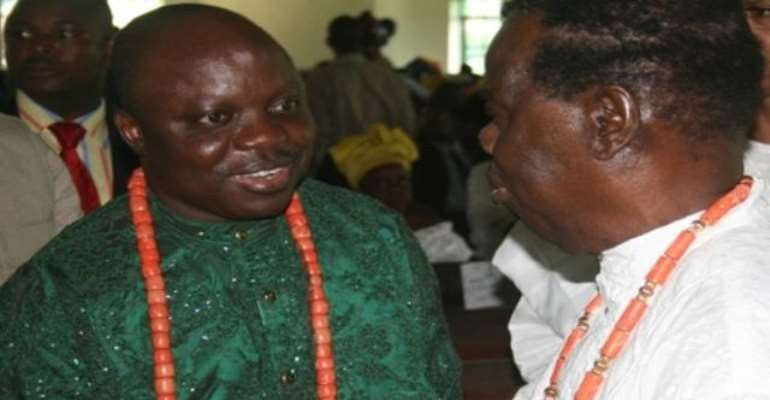 PHOTO: A FILE PHOTO OF SENATOR DAVID DAFINONE (R) EXCHANGING PLEASANTRIES WITH DELTA STATE GOVERNOR, DR EMMANUEL UDUAGHAN DURING A FUNCTION. Image; DTSG.