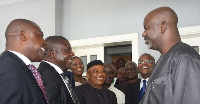 PHOTO: CROSS RIVER STATE GOVERNOR LIYEL IMOKE RECEIVES MEMBERS OF THE CROSS RIVER STATE HOUSE OF ASSEMBLY WHO PAID HIM A CONDOLENCE VISIT IN CALABER FOLLOWING THE DEATH OF HIS MOTHER, COMFORT SAMUEL IMOKE.