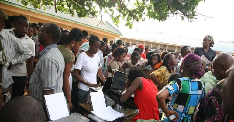ELIGIBLE VOTERS WAITING TO REGISTER AT A STATION IN ABUJA TODAY, FEBRUARY 05, 2011.