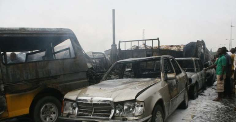 PHOTO SHOWS A MULTIPLE ACCIDENT ON THE LAGOS/IBADAN HIGHWAY ON AUGUST 16, 2010. 20 PERSONS REPORTEDLY DIED FOLLOWING THE ACCIDENT.