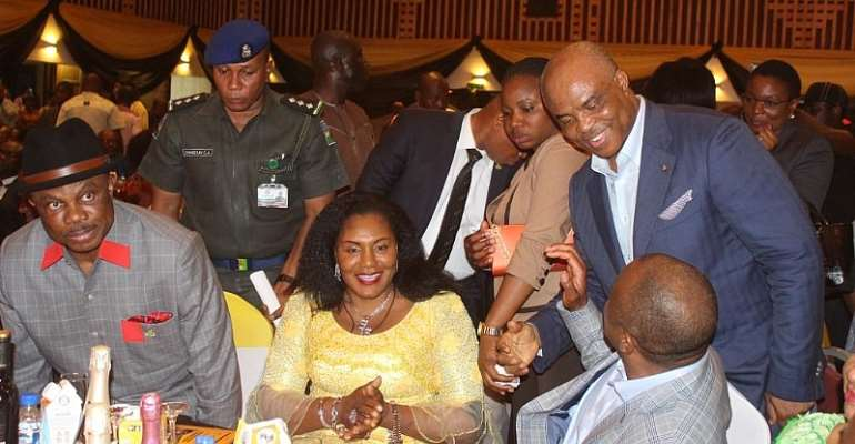 Governor Obiano, his wife Chief Mrs Ebelechukwu and Dr. ABC Orjiakor