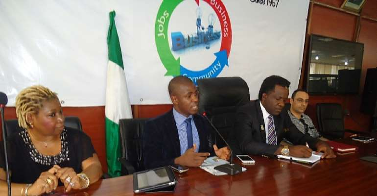 Hexavia FounderCEO, Eizu Uwaoma making his remark during the visit while PHCCIMA President and Exco listens