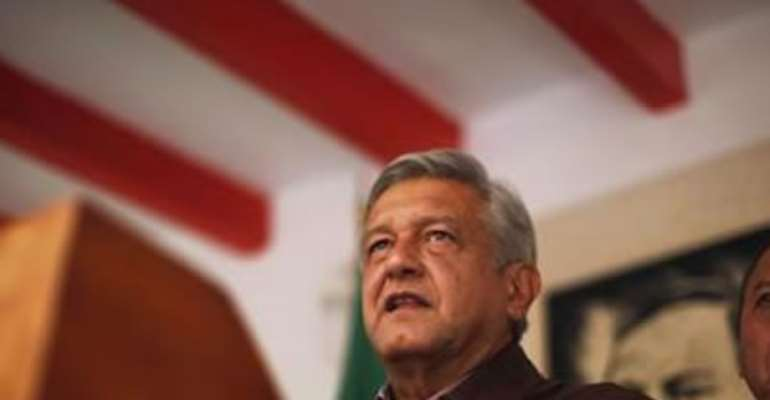 ANDRES MANUEL LOPEZ OBRADOR, PRESIDENTIAL CANDIDATE FOR THE PARTY OF THE DEMOCRATIC REVOLUTION (PRD), ATTENDS A NEWS CONFERENCE AT HIS CAMPAIGN HEADQUARTERS IN MEXICO CITY JULY 7, 2012.