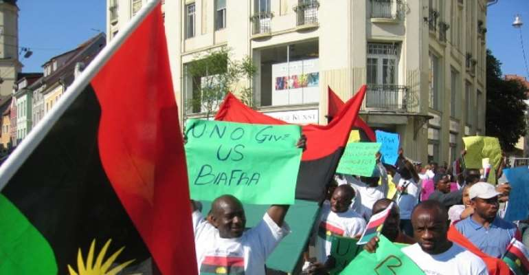A PROTEST ABROAD BY SUPPORTERS FOR THE CREATION OF A SOVEREIGN STATE OF BIAFRA.