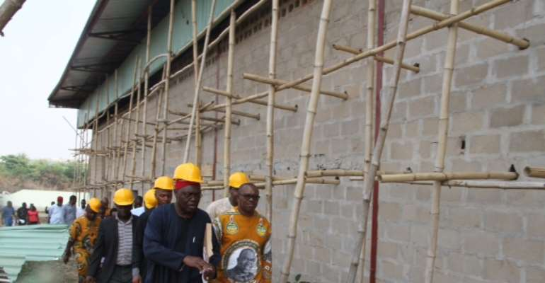 Gov. Peter Obi (Right), With Dr. Okey Areh (Left), During The Inspection Of The Neem Organic Fertilizer Plant Anambra State Government Is Building In Collaboration With The Federal Government At Amawbia, At The Weekend