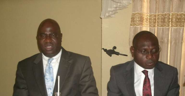 Dr. Moshood Fayemiwo And His Lawyer, The Late Kunle Fadipe During A Press Conference In Lagos, Nigeria In March, 2011...