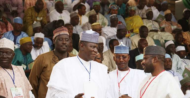 JIGAWA STATE GOVERNOR SULE LAMIDO (LEFT) CHATS WITH HON. MOH WAKIL AT THE PDP SPECIAL CONVENTION IN ABUJA A FEW WEEKS AGO.