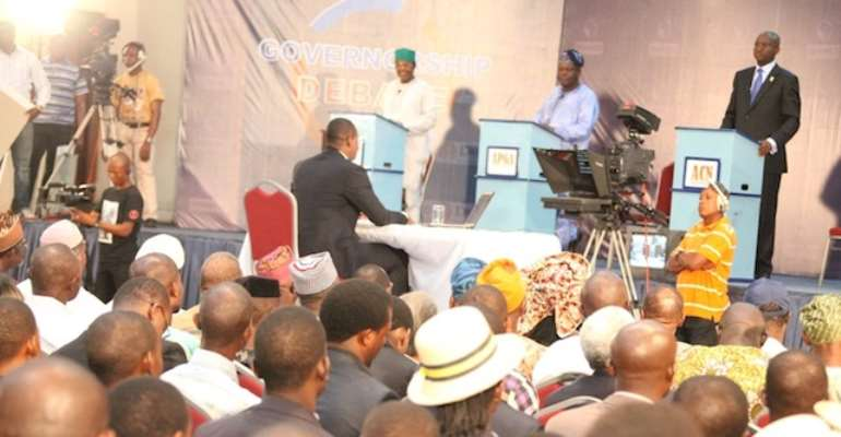 LAGOS STATE GOVERNORSHIP CANDIDATES DURING A DEBATE ORGANISED BY CHANNELS TELEVISION.
