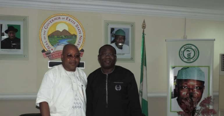 His Excellency Governor Dr. Kayode Fayemi of Ekiti state and Akogun Banji Ojo during a visit at Ado Ekiti