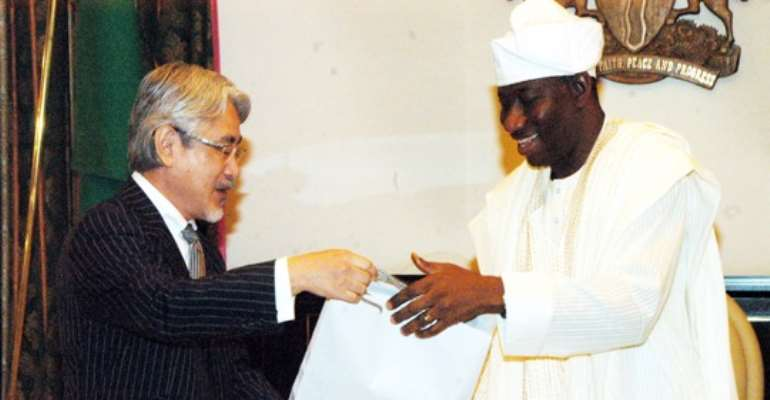 PRESIDENT GOODLUCK EBELE JONATHAN (R) WITH VISITING OUTGOING JAPANESE AMBASSADOR TO NIGERIA, MR TOSHITSUGU UEESAWA AT THE PRESIDENTIAL VILLA ABUJA TODAY, AUGUST 15, 2011.