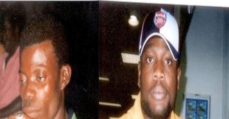 PHOTO: WANTED INDEPENDENCE DAY ALLEGED BOMBERS; BEN JESSY AND CHIMA ORLU. IF YOU HAVE ANY INFORMATION, PLEASE CALL POLICE HOTLINES: 08033225-349; 2. 0806-2700-000; and 3. 0803-8305-707.
