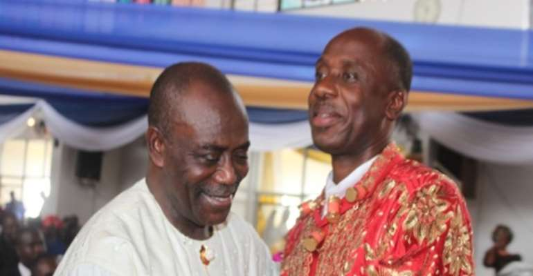 R-L: RIVERS STATE GOVERNOR, MR ROTIMI CHIBUIKE AMAECHI AND FORMER GOVERNOR, DR PETER ODILI HUG AND SHARE A JOKE INSIDE THE CORPUS CHRISTI CATHEDRAL CHURCH IN CAPITAL CITY, PORT HARCOURT, TODAY, MAY 29, 2011.
