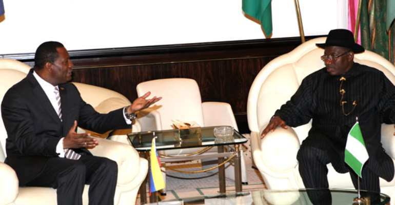 PRESIDENT GOODLUCK JONATHAN WITH OUTGOING AMBASSADOR OF VENEZUELA TO NIGERIA, ENRIQUE FERNADO ARRUNDELL DURING HIS FAREWELL VISIT TO THE STATE HOUSE IN ABUJA. JUNE 27, 2013