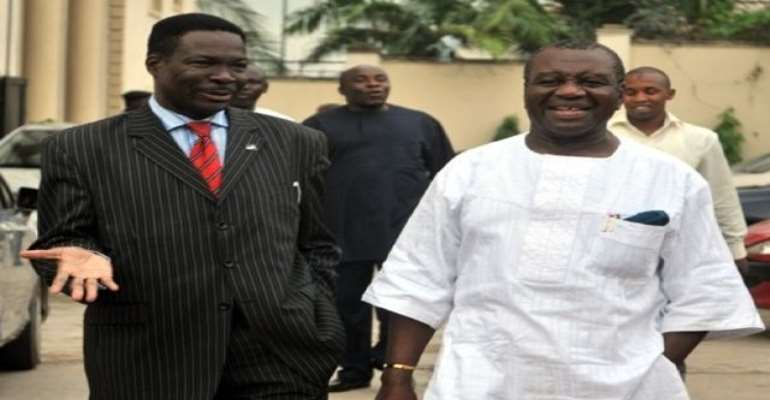 PHOTO: R-L: OBONG VICTOR ATTAH AND HIS LAWYER, MR MIKE OZEKHOME AT THE EFCC HEADQUARTERS RECENTLY.