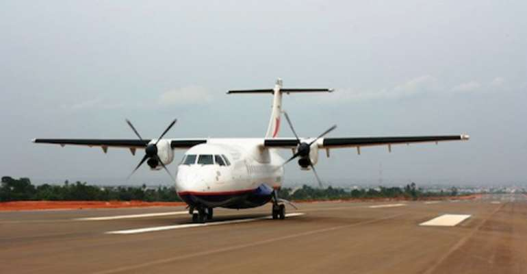 AN OVERLAND OPERATED AIRCRAFT LANDS AT THE ASABA INTERNATIONAL AIRPORT TODAY, MARCH 24, 2011.