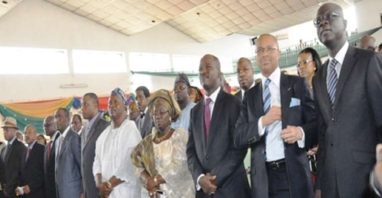 LAGOS STATE CABINET MEMBERS AT THEIR SWEARING-IN CEREMONY IN LAGOS TODAY, JULY 04, 2011