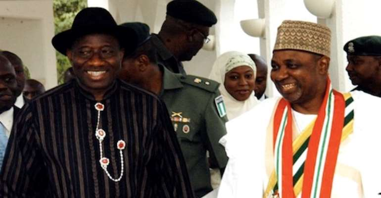 PHOTO L-R: A FILE PHOTOGRAPH SHOWS PRESIDENT GOODLUCK JONATHAN WITH VICE PRESIDENT MOHAMMED NAMADI SAMBO AFTER SAMBO'S SWEARING IN AS VICE PRESIDENT INSIDE THE PRESIDENTIAL VILLA IN ABUJA.