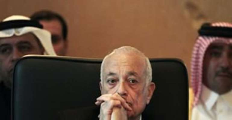 ARAB LEAGUE SECRETARY GENERAL NABIL ELARABY ATTENDS A MEETING WITH THE ARAB LEAGUE'S COMMITTEE ON SYRIA, IN CAIRO JANUARY 22, 2012.