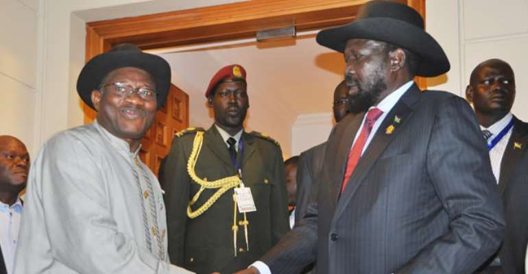 PRESIDENT GOODLUCK JONATHAN (L) WITH THE PRESIDENT SALVA KIIR MAYANDITT OF SOUTH SUDAN, DURING A BILATERAL MEETING IN ADDIS ABABA, ETHIOPIA. JANUARY 26, 2013